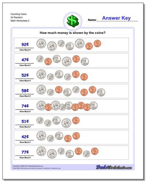 Counting Coins All Random www.dadsworksheets.com/worksheets/money.html Worksheet