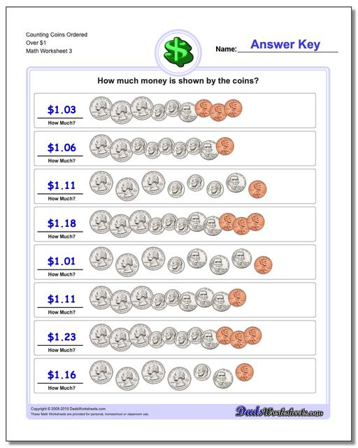 Counting Coins Ordered Over $1 Worksheet