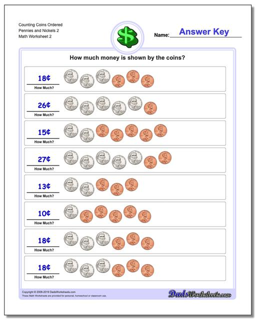 Counting Coins Ordered Pennies and Nickels 2 www.dadsworksheets.com/worksheets/money.html Worksheet