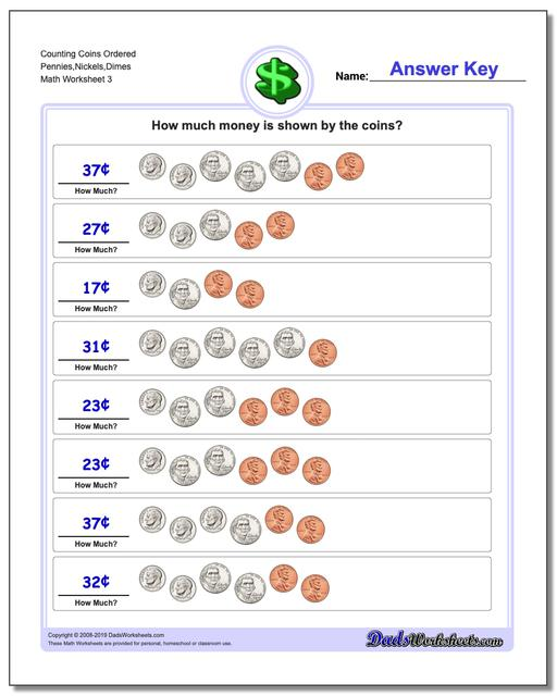Counting Coins Ordered Pennies,Nickels,Dimes Worksheet