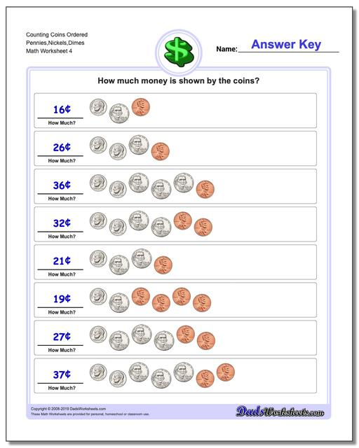 Counting Coins Ordered Pennies,Nickels,Dimes Worksheet