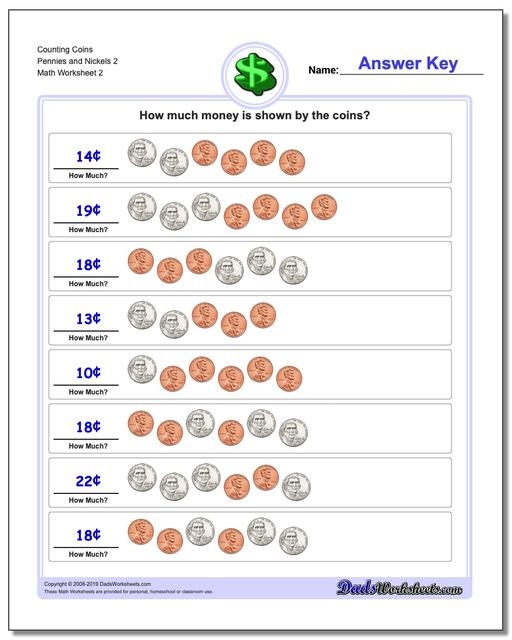 Counting Coins Pennies and Nickels 2 www.dadsworksheets.com/worksheets/money.html Worksheet