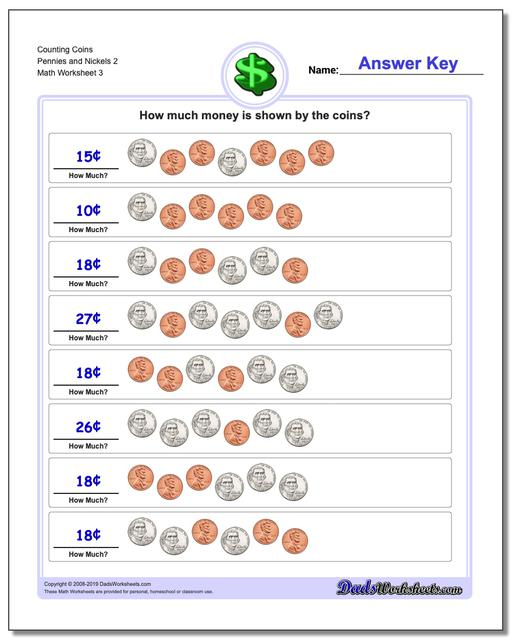 Counting Coins Pennies and Nickels 2 Worksheet