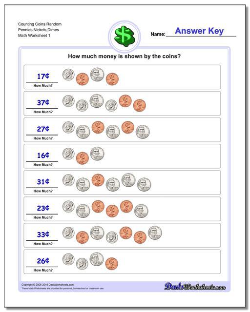 Counting Coins Random Pennies,Nickels,Dimes Money Worksheet