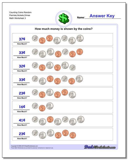 Counting Coins Random Pennies,Nickels,Dimes Worksheet