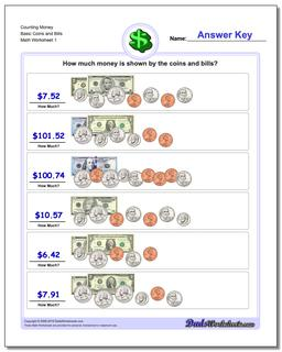 Money Counting Basic Coins and Bills Worksheet