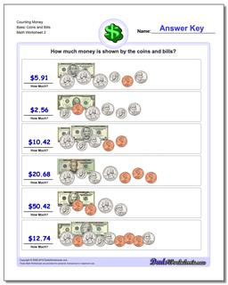 Counting Money Basic Coins and Bills www.dadsworksheets.com/worksheets/money.html Worksheet