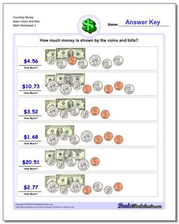 Counting Money Basic Coins and Bills Worksheet