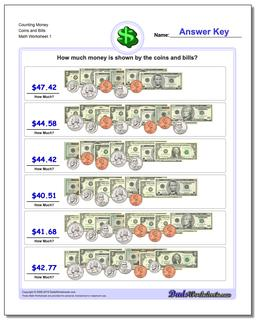 Money Counting Coins and Bills Worksheet