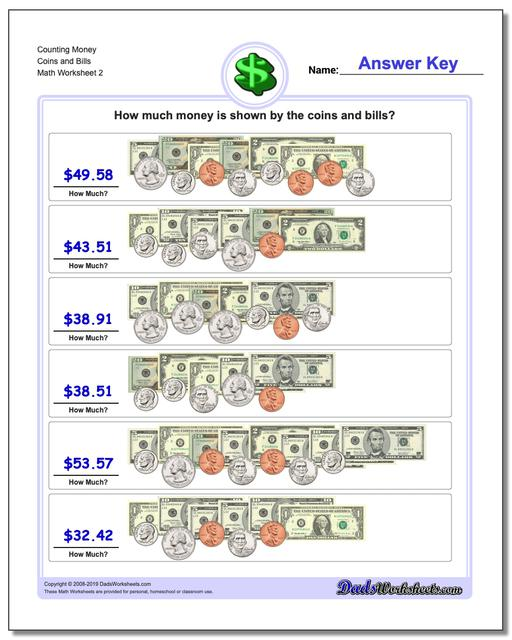 Counting Money Coins and Bills www.dadsworksheets.com/worksheets/money.html Worksheet