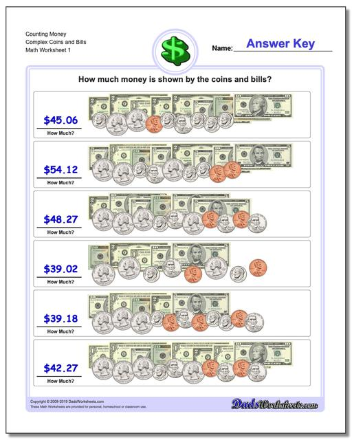 Money Counting Complex Coins and Bills Worksheet