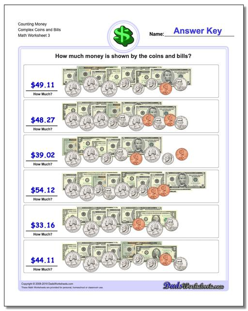 Counting Money Complex Coins and Bills Worksheet