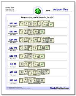 Money Counting Small Bills Only Worksheet