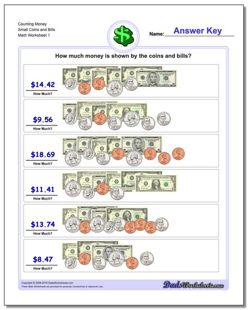 Money Counting Small Coins and Bills Worksheets