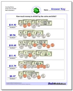Money Counting Small Coins and Bills Worksheet
