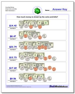 Counting Money Small Coins and Bills Worksheet