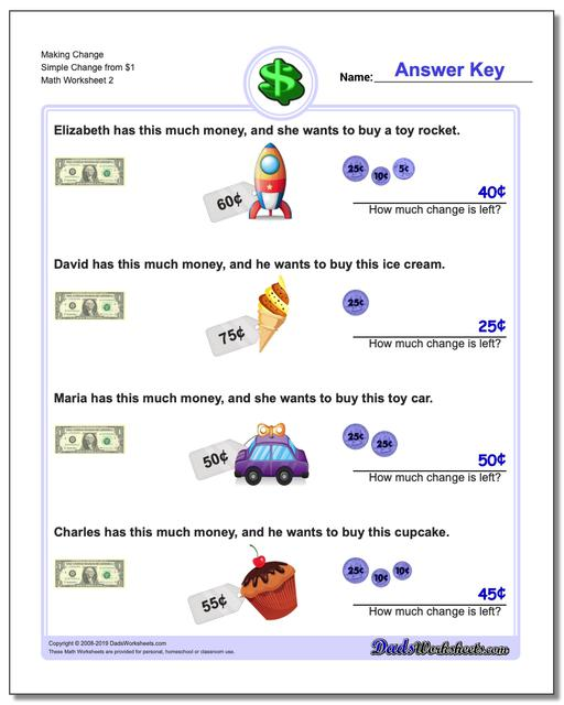 Making Change Simple Change from $1 www.dadsworksheets.com/worksheets/money.html Worksheet