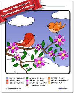 Spring Multiplication Color by Number Worksheet #Multiplication #Worksheet #Color #By #Number