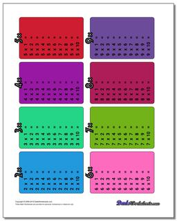 Color Multiplication Table Worksheet