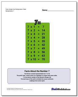 Color Single Fact Multiplication Worksheet Table #Multiplication #Worksheet #Table