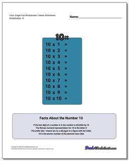 Color Single Fact Multiplication Tables Worksheet #Multiplication #Worksheet #Table