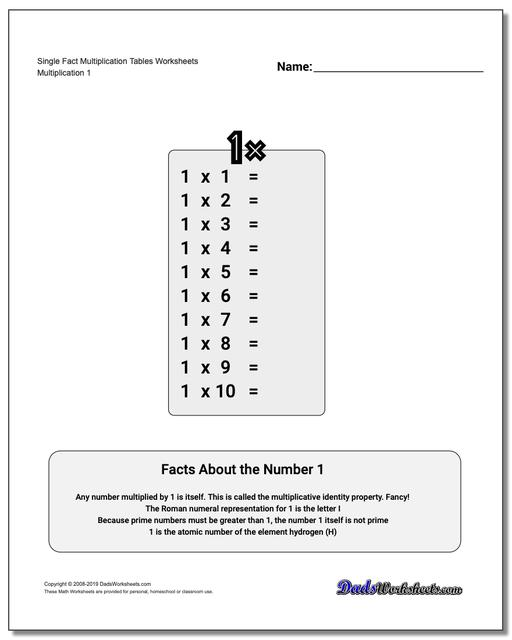 multiplication table  single fact multiplication tables worksheets