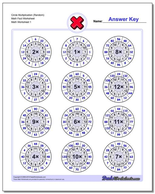 Multiplication Worksheets Circle (Random) Math Fact Worksheets