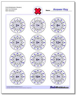 Multiplication Worksheet Circle (Random) Math Fact Worksheet