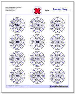 Circle Multiplication (Random) Math Fact Worksheet www.dadsworksheets.com/worksheets/multiplication.html