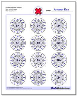 Circle Multiplication (Random) Math Fact Worksheet