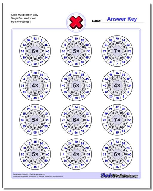 Multiplication Worksheets Circle Easy Single Fact Worksheets