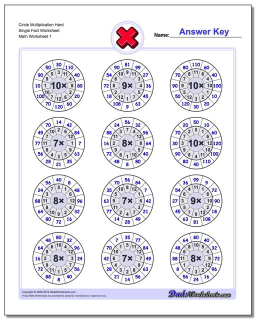 Multiplication Worksheets Circle Hard Single Fact Worksheets