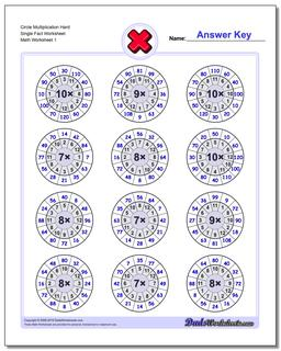 Multiplication Worksheet Circle Hard Single Fact Worksheet