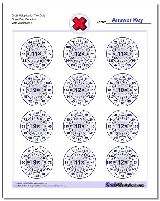 Multiplication Worksheets Circle Two Digit Single Fact Worksheets