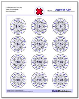 Multiplication Worksheet Circle Two Digit Single Fact Worksheet