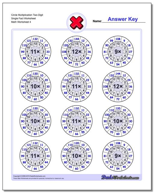 Circle Multiplication Two Digit Single Fact Worksheet