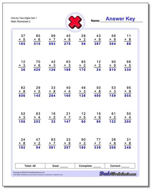 One by Two Digits Set 1 www.dadsworksheets.com/worksheets/multiplication.html Worksheet
