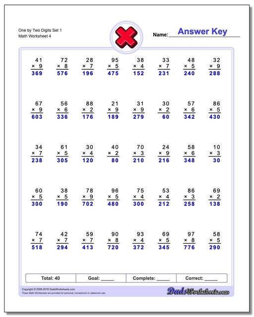 One by Two Digits Set 1 Worksheet