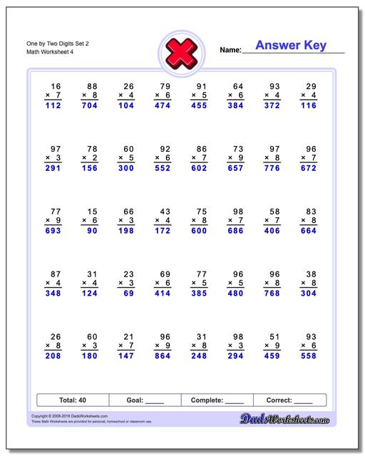 One by Two Digits Set 2 Worksheet