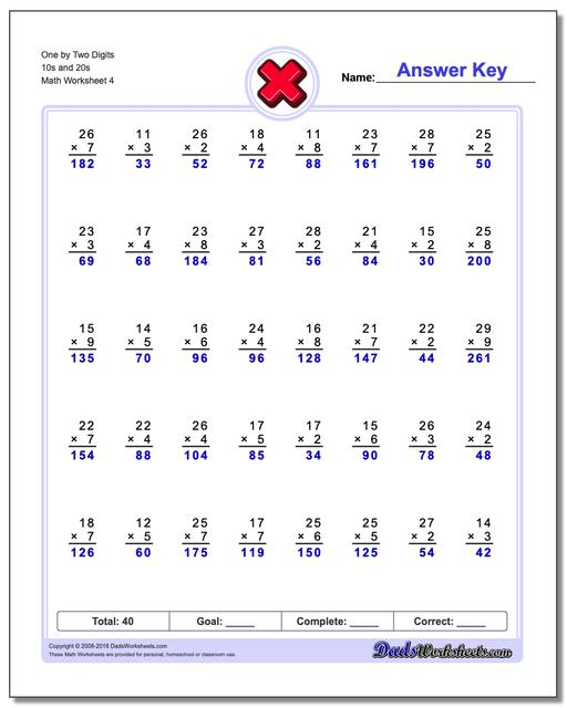 One by Two Digits 10s and 20s Worksheet