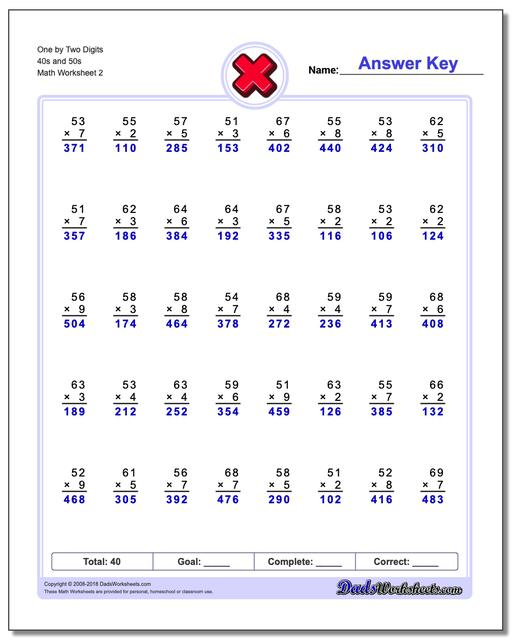 One by Two Digits 40s and 50s www.dadsworksheets.com/worksheets/multiplication.html Worksheet