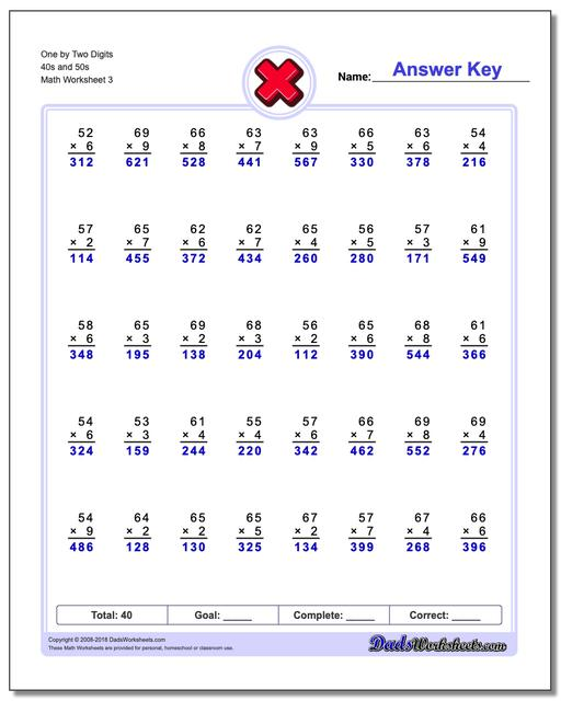 One by Two Digits 40s and 50s Worksheet