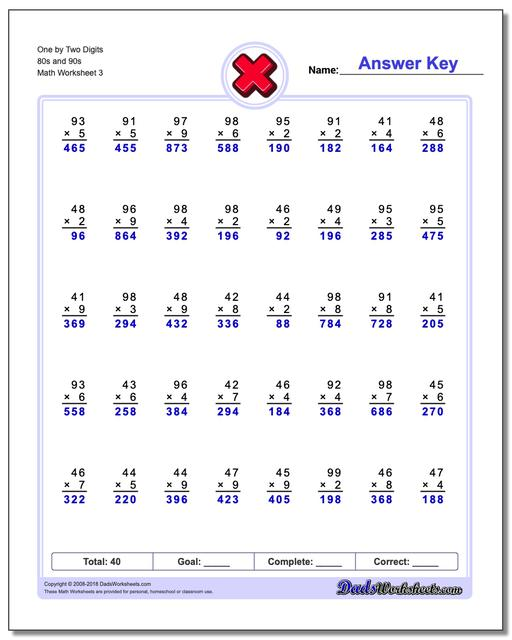 One by Two Digits 80s and 90s Worksheet