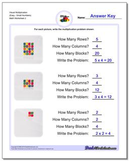 Visual Multiplication Worksheet (EasySmall Numbers) #Multiplication #Worksheet