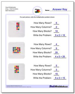 Visual Multiplication Worksheet (EasySmall Numbers) #Multiplication #Worksheet