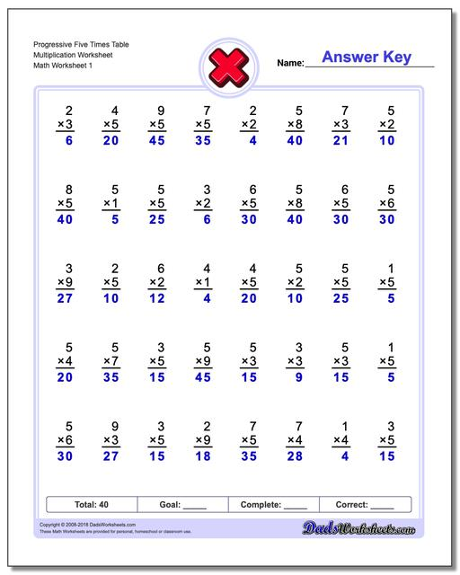 Multiplication Worksheet Progressive Five Times Table Worksheet