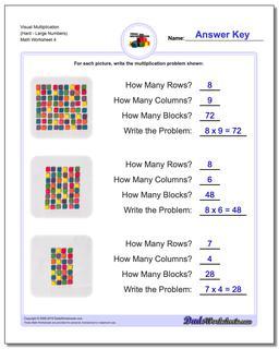 Visual Multiplication Worksheet (HardLarge Numbers) #Multiplication #Worksheet