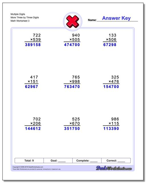 Multiple Digits More Three by Three Digits Worksheet