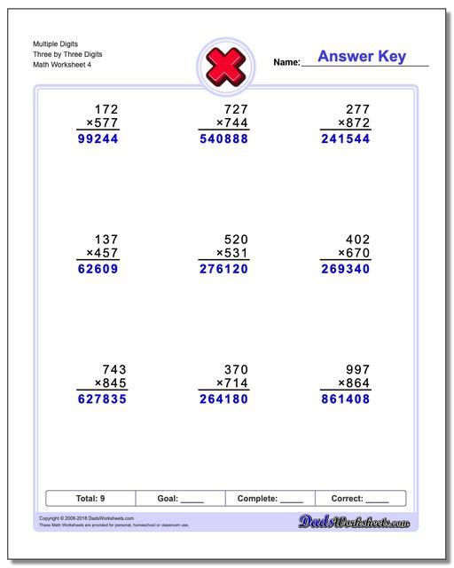 Multiple Digits Three by Three Digits Worksheet