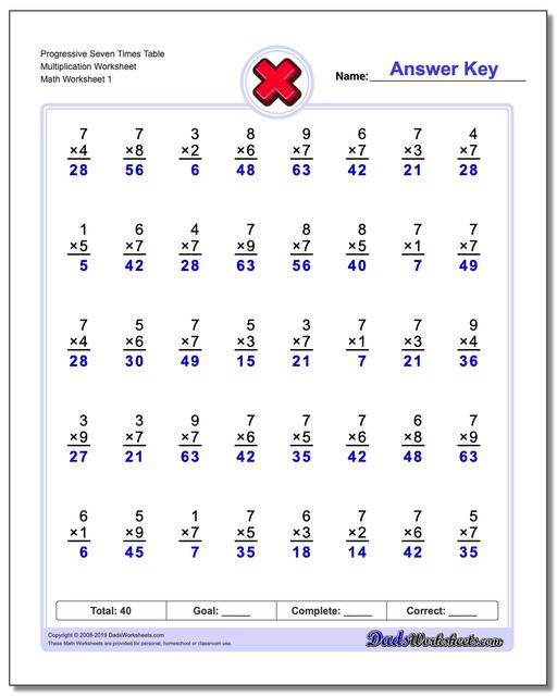 Multiplication Worksheets Progressive Seven Times Table Worksheets